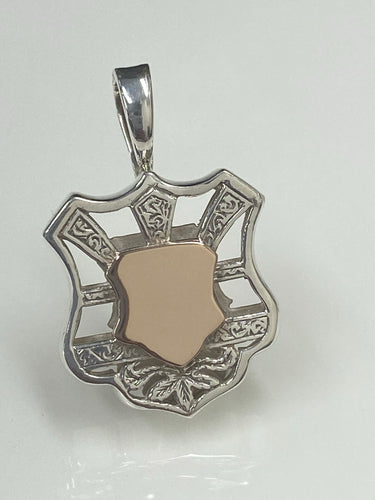 S/S & 9ct Rose Gold Shield Enhancer Pendant