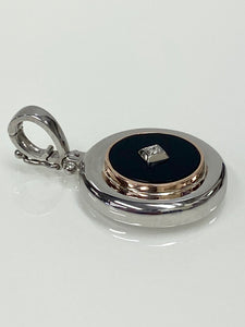 Sterling Silver & 9ct R/G Onyx & Diamond Enhancer