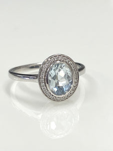 9ct W/G Aquamarine & Diamond Ring