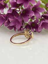 Load image into Gallery viewer, 9ct Y/G Amethyst & Diamond Ring