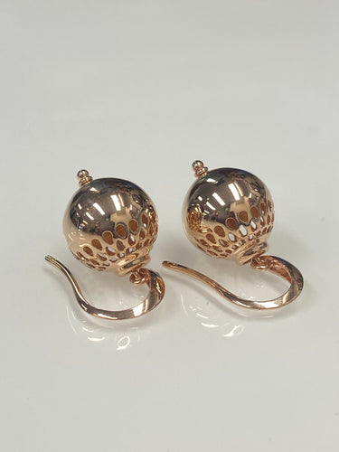 9ct R/G Lantern Ball Earrings