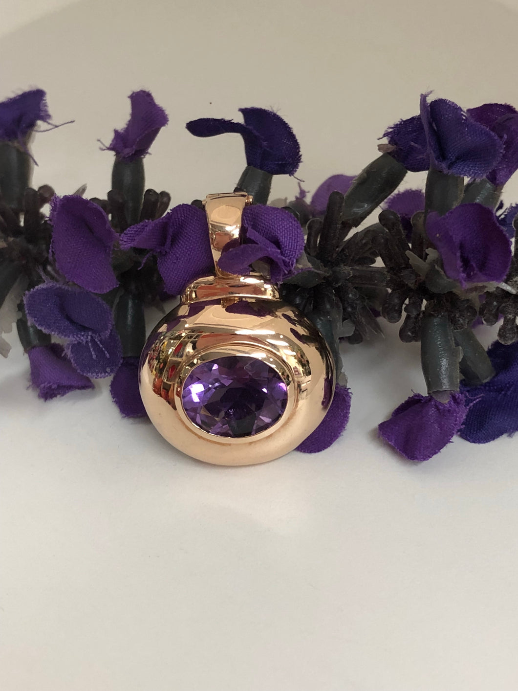 9ct Rose Gold Amethyst Enhancer Pendant