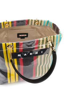 MARNI logo striped tote bag