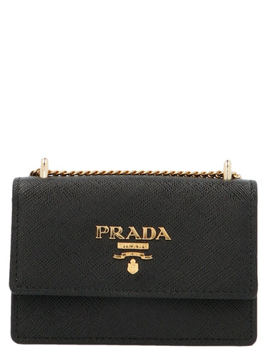 PRADA mini logo plaque clutch bag