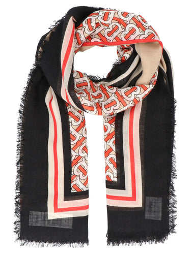 BURBERRY con Stripe Monogram Print Wool Silk Square Large Scarf