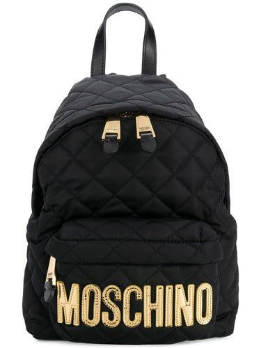 MOSCHINO quilted statement logo backpack