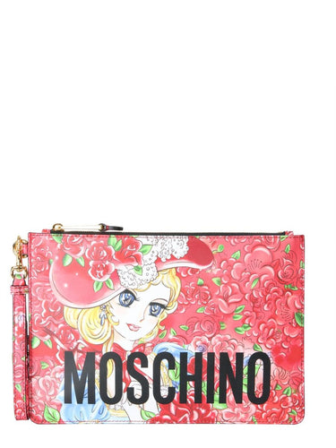 MOSCHINO Georgie print clutch