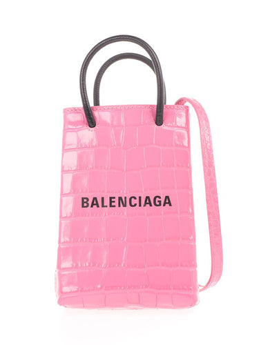 BALENCIAGA Shopping crocodile-effect mini tote bag