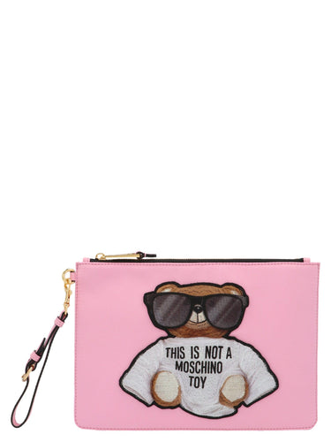 MOSCHINO Teddy embroidered clutch