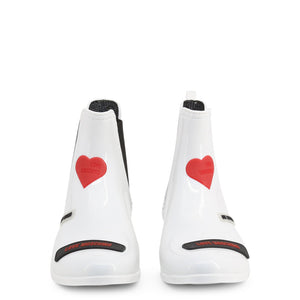 Love Moschino heart logo patent boots