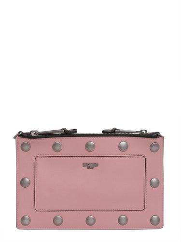 MOSCHINO logo studded clutch