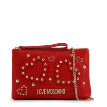 Load image into Gallery viewer, Love Moschino heart logo clutch with chain