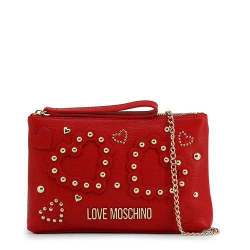 Love Moschino heart logo clutch with chain
