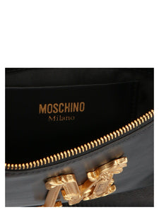 MOSCHINO M logo plaque clutch