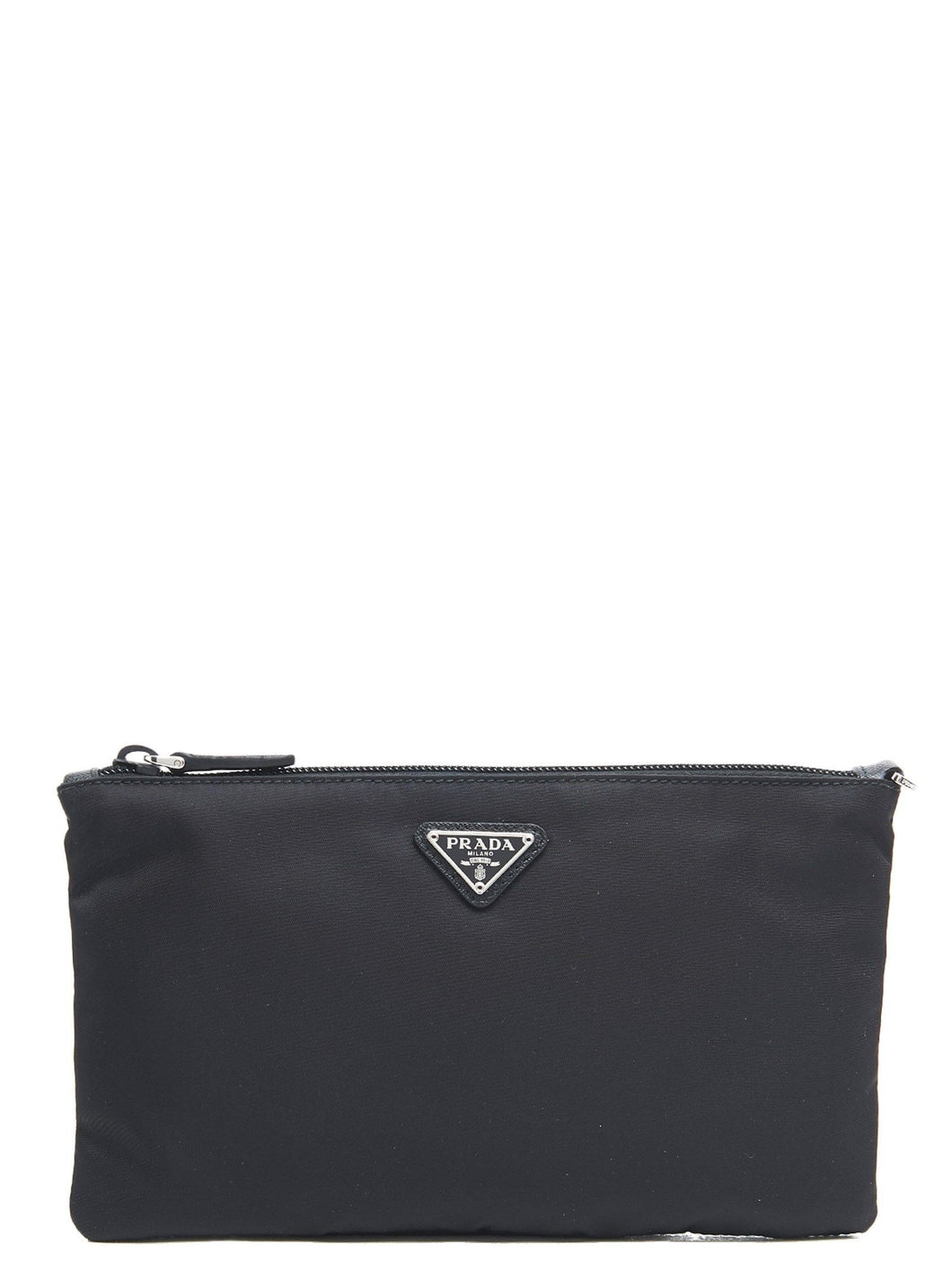 PRADA logo plaque zipped pouch