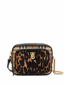 BURBERRY Vintage check and leopard print calf hair camera bag