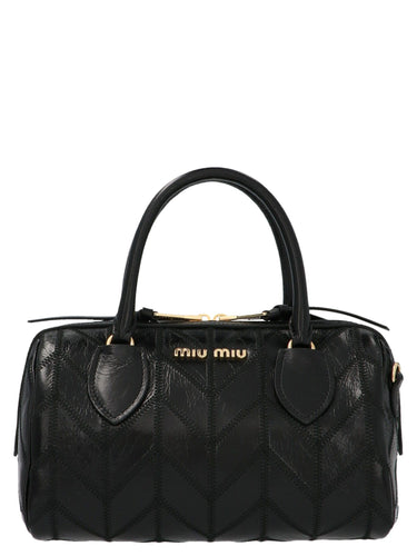 MIU MIU stitch detail nappa leather handbag