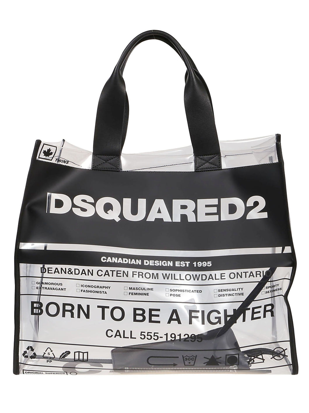 DSQUARED2 newspaper print pvc tote