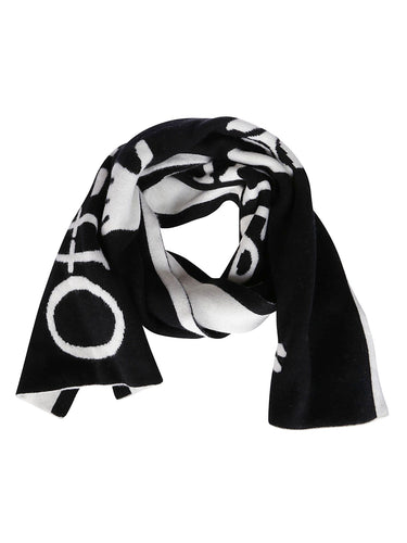 OFF-WHITE black and white logo wool scarf