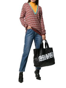 DSQUARED2 logo leather tote bag