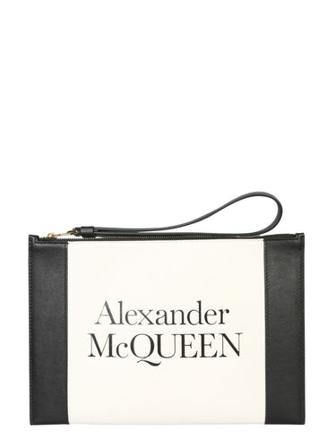 ALEXANDER MCQUEEN Logo embossed leather clutch