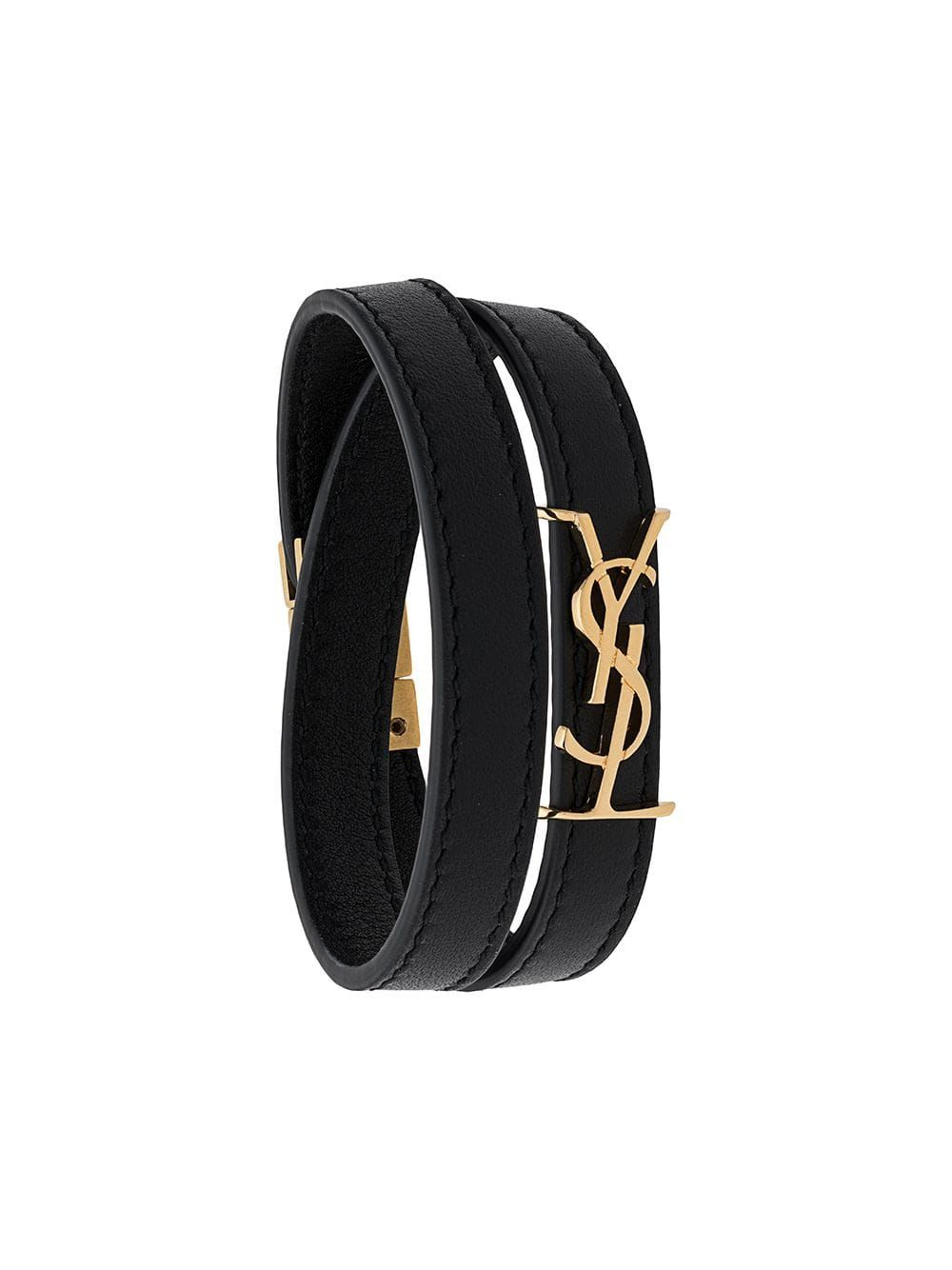 SAINT LAURENT logo plaque wrap around bracelet