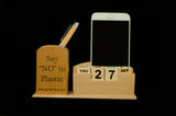 Beech Wood- Forever Calendar and Mobile-Pen-Card Holder