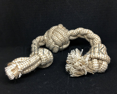 Long Ball Knot Shape Play Toy For Animals Made By Natural Cotton Jute