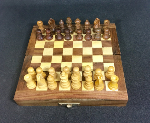 Foldable 12 Inches Rosewood Chessboard Game