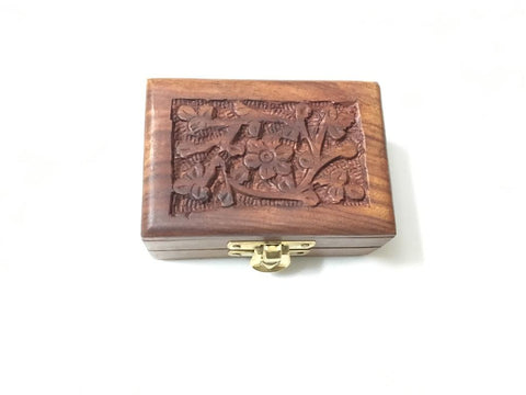 Mini Wood Jewelry Box In Sheesham Wood