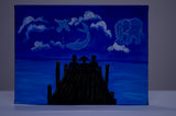 canvas painting acrylic -  animals in sky - front view