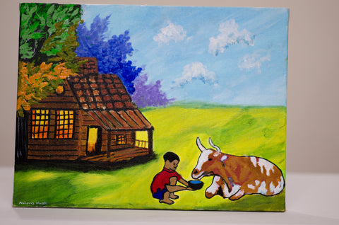 canvas painting acrylic - kid giving water to cow - front view