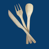 Set Of Bamboo Knife, Fork, Spoon