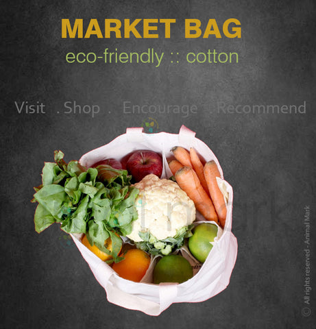 COTTON - ECO-FRIENDLY BAG WITH MINI POCKET FOR MARKET PURPOSE