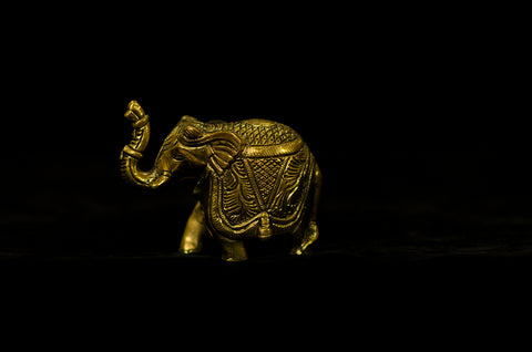 ANTIQUE - BLACK BRASS - ELEPHANT BLESSING POSE - BIG