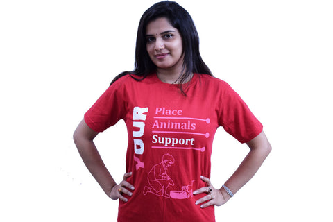 Your Place Quote - Unisex Round Neck - Red - TShirt - Front View