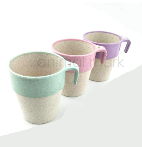 Set Of 3 Eco-Friendly Wheatstraw Mug To Serve Hot / Cold liquid Available In Pink, Green, Violet Colors