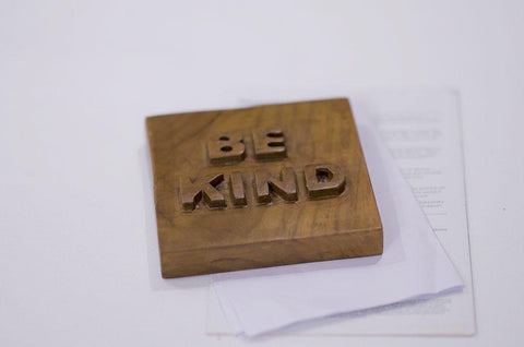 Teak Wood Paperweight / Showpiece Item- Nameplate - BE KIND - on paper view