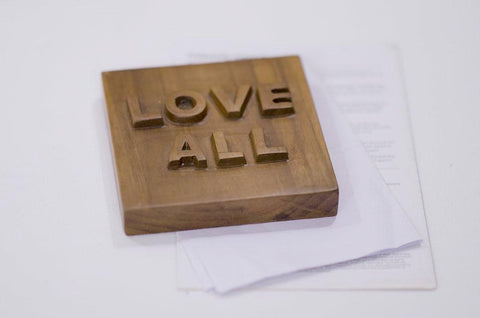 Teak Wood Paperweight / Showpiece Item- Nameplate - LOVE ALL - on paper