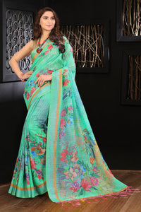 Linen Green Flowers Digital Printed Saree MS-1189
