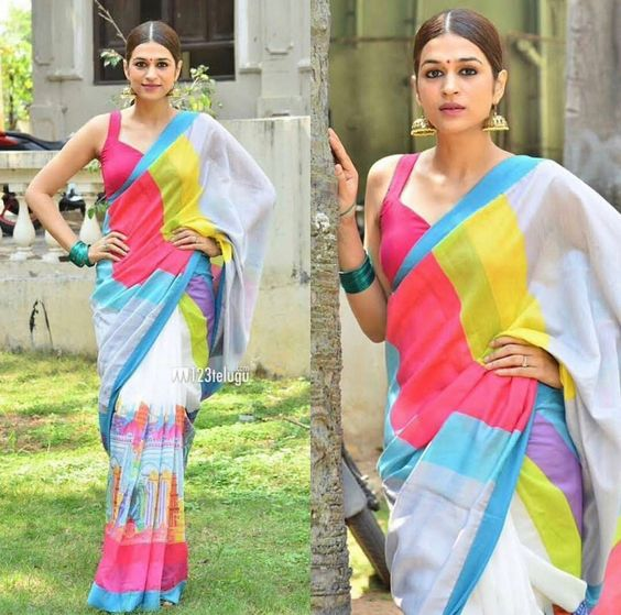 Outstanding Multi Color Linen Digital Printed Saree MS-1157