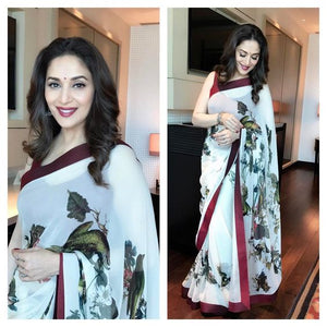 OutStanding Off White Color Linen Digital Printed Saree MS-1151