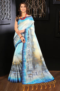 Cream and Blue color's Linen Digital Printed Saree MS-1181
