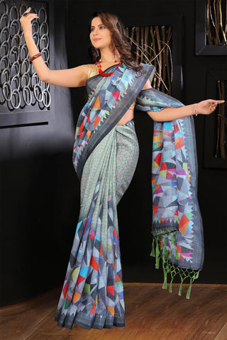 Checkered Blue color Linen Digital Printed Saree MS-1180