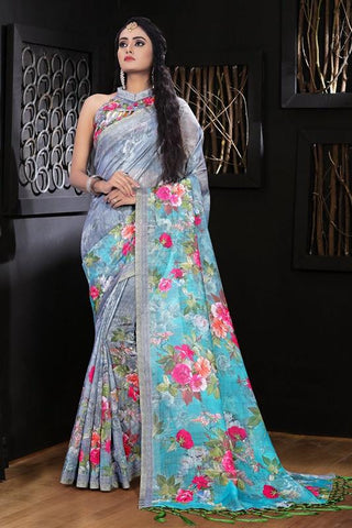 Pure Linen Grey Flower Digital Printed Saree