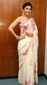Awsome White Color Lenen Digital Printed Saree MS-1148