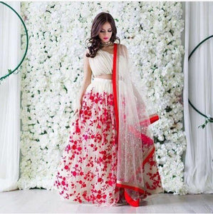 Designer Red and White Color Embroidered Semi-stitched Party wear Lehenga Choli