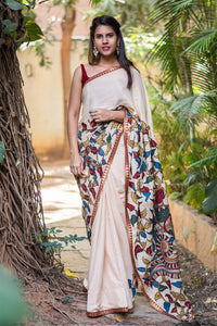 Beautiful Off White colour Linen Digital printed Saree MS-1035