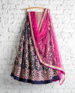 Beautiful Multi Color Embroidered Semi-stitched Party Wear Lehenga Choli