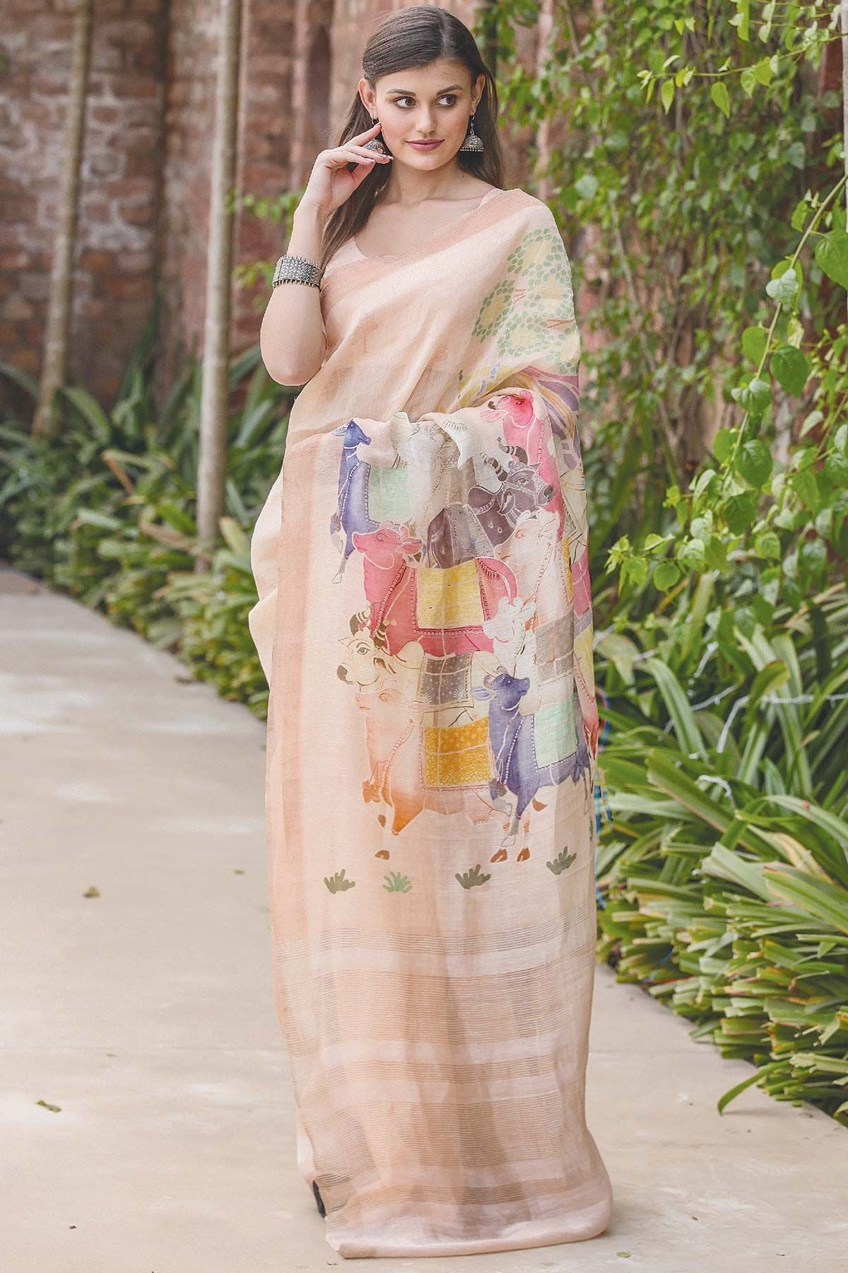 Modern Off White Color Linen Digital Printed Saree MS-1130
